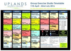 Studio Timetable Easter - Summer 2016